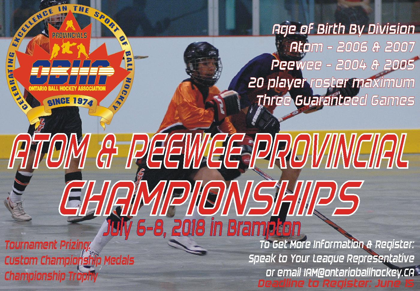 2018 OBHA Atom & Peewee Provincial Championships